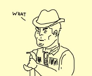 Cowboy draws a banana