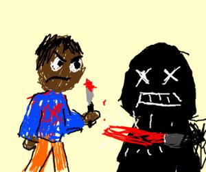 Black man kills Darth Vader!