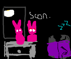 Even silly pink bunnies look scary in the dark