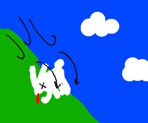 Dead rabbit rolls down a hill