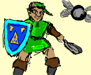 Black Link ready to attack with frying pan