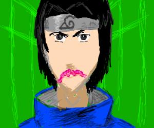 Sasuke's new pink moustache