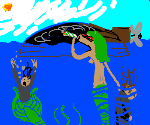 evil siren smoking some weed underwater