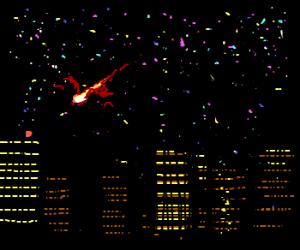 Meteor shrugs atop a Minneapolis skyline