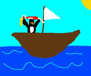 pinguin throws blonde, dead women off boat.