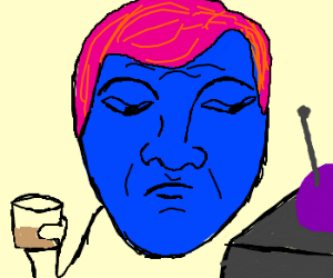 Blueman gets drunk and watches TV
