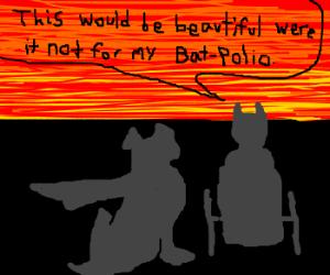 crippled batman and krypto watch a sunset