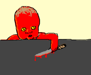 evil red head baby holding knife