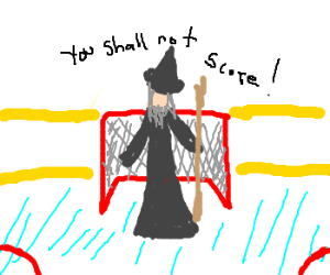 Gandalf playing hockey