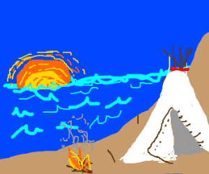 Teepees in sunset next to lake