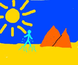 Ice Giant melting in the hot, desert sun.