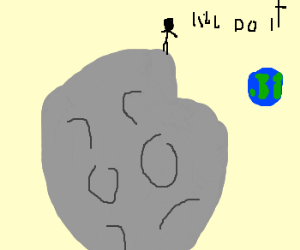 man walks on moon cliff
