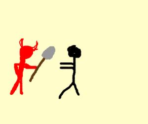 Satan offers a person a shovel.