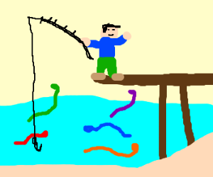 fishing for snakes