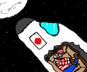 waldo shipped in crate to the moon.