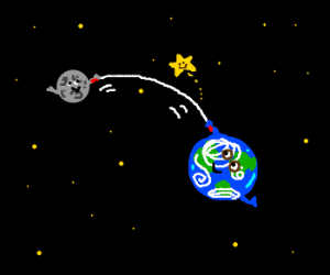 Cosmic jump rope held on earth and moon