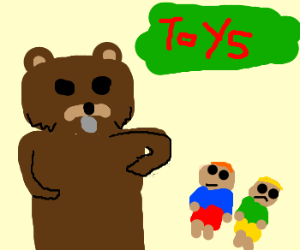 Pedobear searching for victims in the toystore