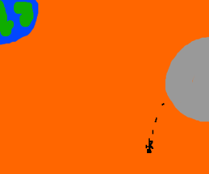 Orange filtered scene as man suicides off moon