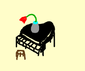 Clasical Piano with FLower in Vase