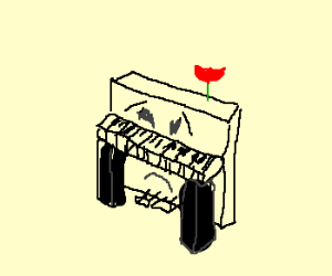 Lonely piano with rose on top.