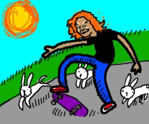 Carrot top skateboarding with rabit