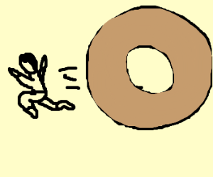 Man chased by giant donut.