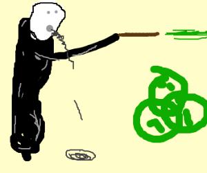 Voldemort casts avada kedavra next to diagram