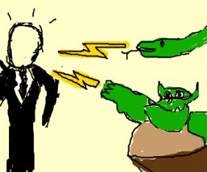 Snake and Ogre shoot lightning at Slenderman