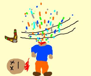 Boomerang decapitation = confetti explosion