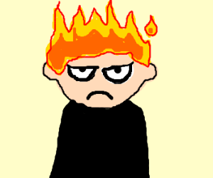 man is black shirt w/ head on fire is grouchy