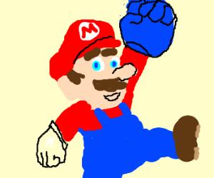 Mario has a big blue glove.