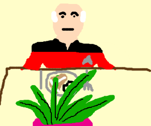 Captain Picard brings a plant to dinner.