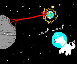 Deathstar destroying earth, happy space puppy