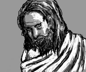A portrait of Jesus in grayscale