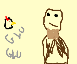 chicken head and guy with beard with black eye