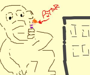 Giant monkey man eats PSTAR girl's bikini top