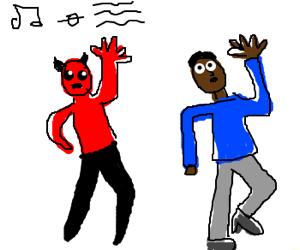 Satan dances with black man