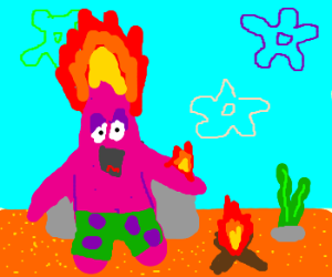 Patrick Star is on fire