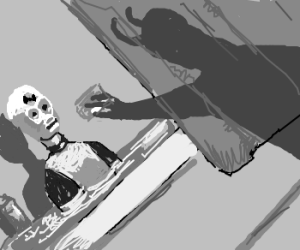 Shadow attacking a dummy in the tub