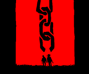 links of a chain end at two men, one a cowboy