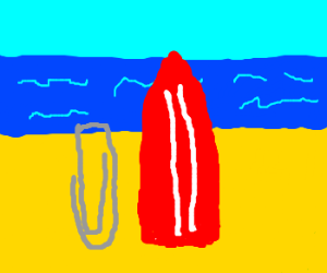 Paper-clip visiting a beach with a surfboard