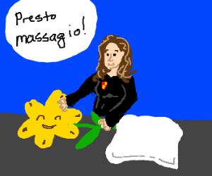 Hermione Granger enjoying Massaging Marigolds