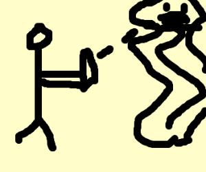 Stick Figure killing a jelly spegattie monstar