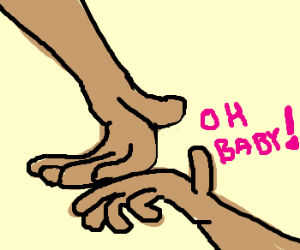 Two hands making out