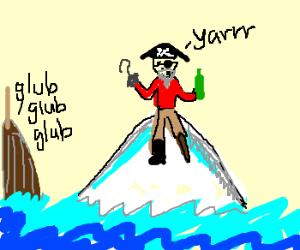 Pirate is stuck on an iceberg.