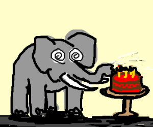 Hypnotized elephant blows out birthday candles