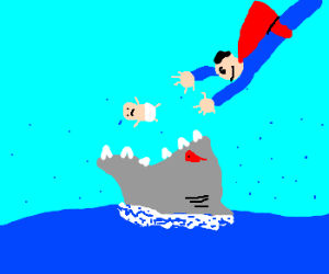 Superman saving baby from jaws