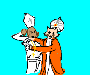 Dog Pope and Cat Caliph do battle!!