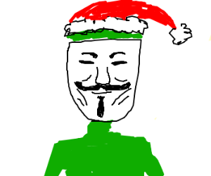 The Grinch wears a Guy Fawkes mask