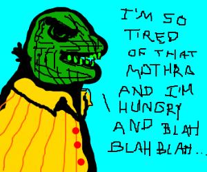 Creepy depressed gorilla ranting.